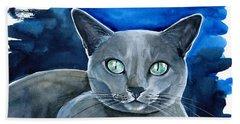 Jackpot - Russian Blue Cat Painting Bath Towel