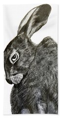 Hand Towel featuring the drawing Jackrabbit Jock by Linde Townsend