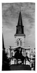 Bath Towel featuring the digital art Jackson Square - Monochrome by Chris Coffee