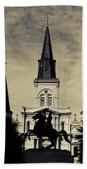 Bath Towel featuring the digital art Jackson Square - Split Tone by Chris Coffee