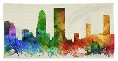 Jacksonville Skyline Panorama Usflja-pa03 Hand Towel