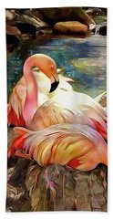 Jacqueline's Flamingos Bath Towel