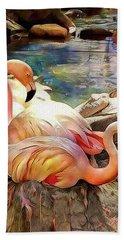 Jacqueline's Flamingos Hand Towel