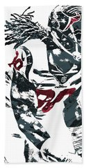 Hand Towel featuring the mixed media Jadeveon Clowney Houston Texans Pixel Art by Joe Hamilton