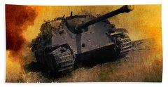 Hand Towel featuring the digital art Jagdpanther German Ww2 Tank by John Wills