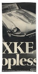 Jaguar Automobile Xke Topless Advert Bath Towel