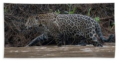Hand Towel featuring the photograph Jaguar In River by Wade Aiken