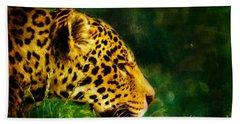 Jaguar In The Grass Hand Towel