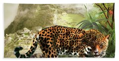 Jaguar In The Shadow Of  Machu Picchu Peru Hand Towel