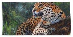 Jaguar In Tree Bath Towel by David Stribbling