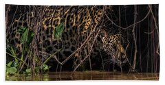 Hand Towel featuring the photograph Jaguar In Vines by Wade Aiken