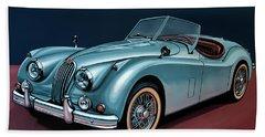Jaguar Xk140 1954 Painting Bath Towel