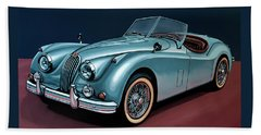Jaguar Xk140 1954 Painting Hand Towel