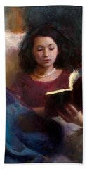 Jaidyn Reading A Book 1 - Portrait Of Young Woman Bath Towel