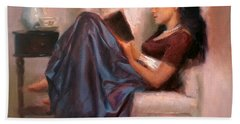 Jaidyn Reading A Book 2 - Portrait Of Woman Bath Towel