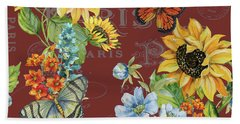Bath Towel featuring the painting Jaime Mon Jardin-jp3988 by Jean Plout