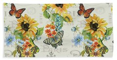 Bath Towel featuring the painting Jaime Mon Jardin-jp3989 by Jean Plout