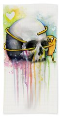 Jake The Dog Hugging Skull Adventure Time Art Hand Towel