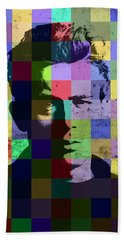 James Dean Actor Hollywood Pop Art Patchwork Portrait Pop Of Color Hand Towel by Design Turnpike