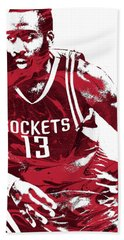 James Harden Houston Rockets Pixel Art 3 Bath Towel