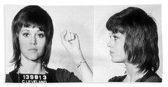 Jane Fonda Mug Shot Horizontal Bath Towel by Tony Rubino