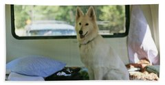 Jane Riding In The Bus Camping At Cape Lookout Hand Towel