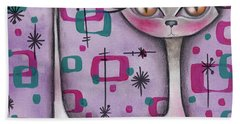 Janice Cat Bath Towel by Abril Andrade Griffith