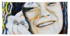 Janis Joplin Pop Art Portrait Hand Towel by Bob Baker