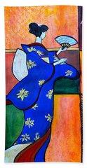 Japan Geisha Kimono Colorful Decorative Painting Ethnic Gift Decor Hand Towel
