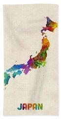 Japan Watercolor Map Hand Towel