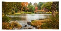 Bath Towel featuring the photograph Japanese Garden Bridge Fall by David Coblitz