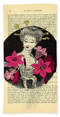 Japanese Lady With Cherry Blossoms Hand Towel