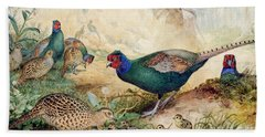 Japanese Pheasants Hand Towel by Joseph Wolf