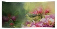 Japanese White-eye On A Blooming Tree Hand Towel
