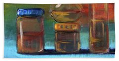 Hand Towel featuring the painting Jars Still Life Painting by Nancy Merkle