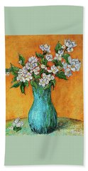 Jasmine Flowers In A Blue Pot Bath Towel
