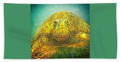 Hand Towel featuring the digital art Jasmine The Turtle by Erika Swartzkopf
