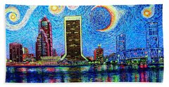Hand Towel featuring the painting Jax,fla #2 by Viktor Lazarev