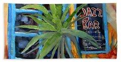 Jazz Bar In Santorini Hand Towel