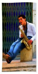 Hand Towel featuring the photograph Jazz In The Street by David Dehner