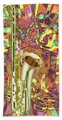 Bath Towel featuring the digital art Jazz Me Up by Eleni Mac Synodinos