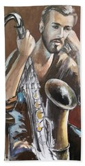 Jazz.saxophone Player Painting  Hand Towel