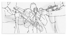 Jazz Wind Section, Ink Portrait Hand Towel