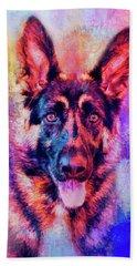 Jazzy German Shepherd Colorful Dog Art By Jai Johnson Bath Towel by Jai Johnson