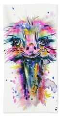 Hand Towel featuring the painting Jazzzy Ostrich by Zaira Dzhaubaeva