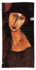Jeanne Hebuterne With Hat And Necklace Hand Towel