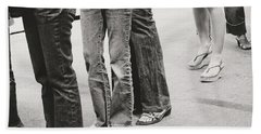 Jeans And Sandals Black And White- Photography By Linda Woods Bath Towel