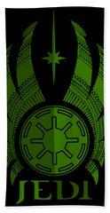 Jedi Symbol - Star Wars Art, Green Hand Towel