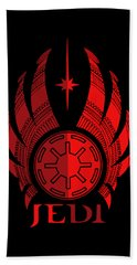 Jedi Symbol - Star Wars Art, Red Bath Towel