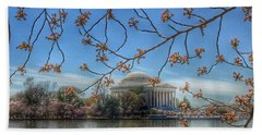 Jefferson Memorial - Cherry Blossoms Hand Towel by Marianna Mills
